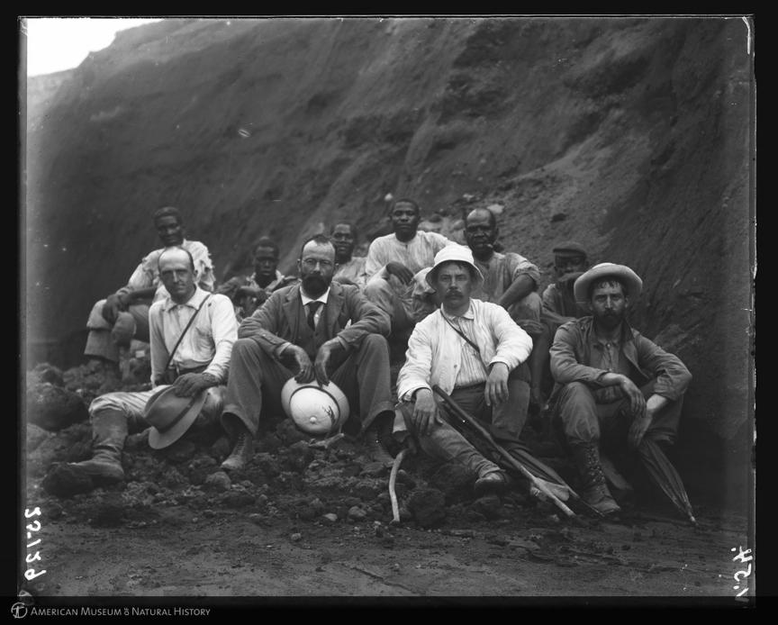 ID: 25129<br>Jaggar, Mac Donald, Hovey, and Curtis with porters, expedition portrait, ascent of La Soufriere, St. Vincent, 1902