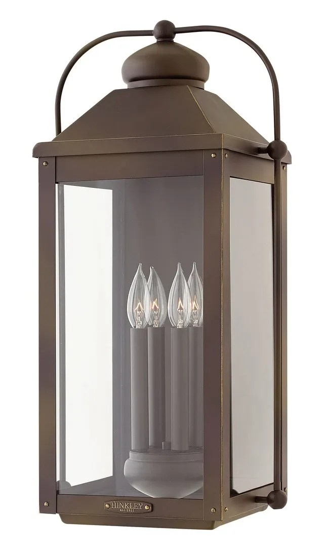 hinkley anchorage 4 light outdoor extra large wall sconce in light oiled bronze