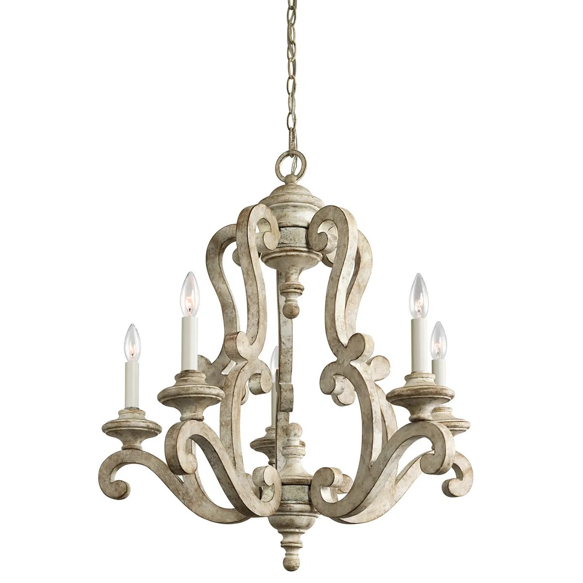 kichler hayman bay french country chandelier in distressed antique white