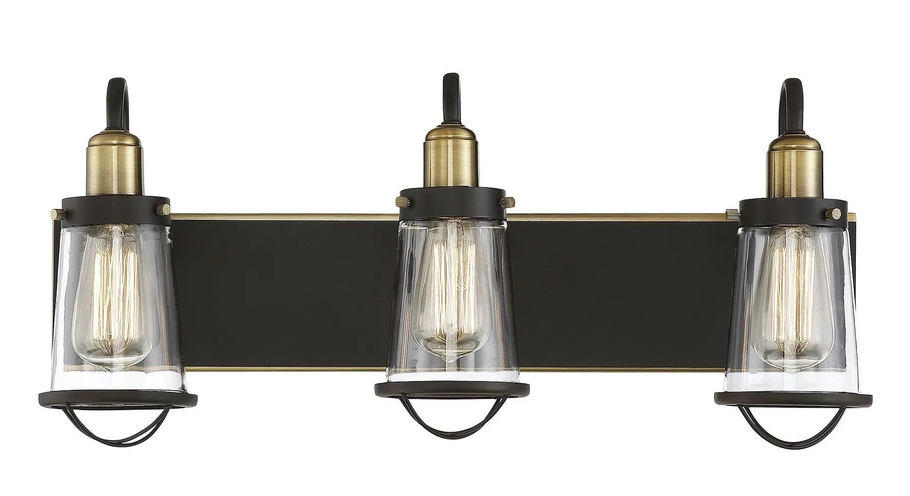 savoy house lansing 3 light bathroom vanity light in english bronze