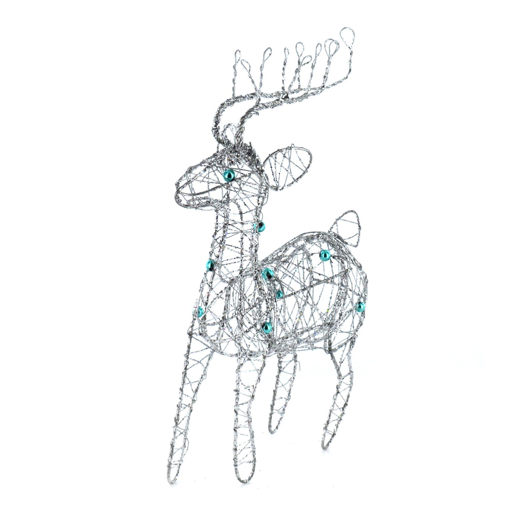 New Glitter Wire Christmas Reindeer Decoration Sparkle