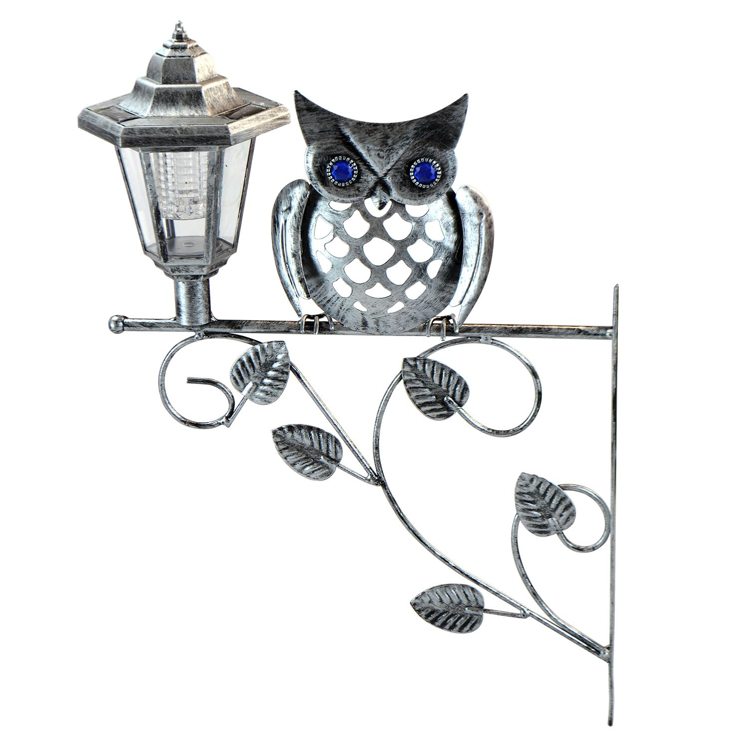 Traditional Solar Powered Owl Lantern Wall Bracket Light