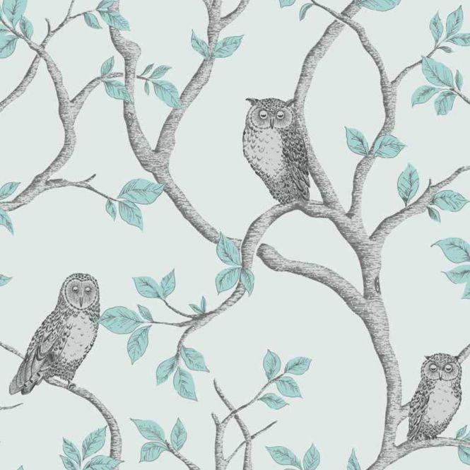 Duck Egg Blue Teal Wallpaper Owl Bird Pea Scroll Amp. Owl Bedroom Wallpaper   Bedroom Style Ideas