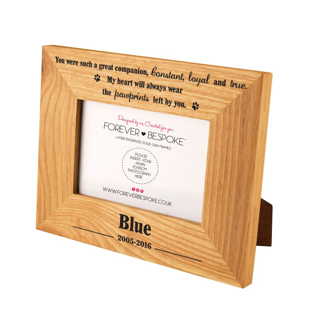 Personalised Engraved Pet Memorial Oak Frame In Loving