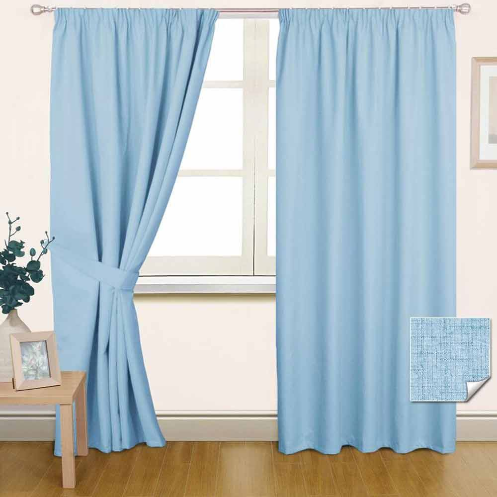Thermal Blackout Pencil Pleat Ready Made Curtain Black Blue Cream Brown Pink Red EBay