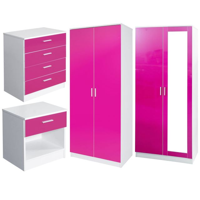 Pink And White Gloss Bedroom Furniture Bedside Cabinet 2 Drawer
