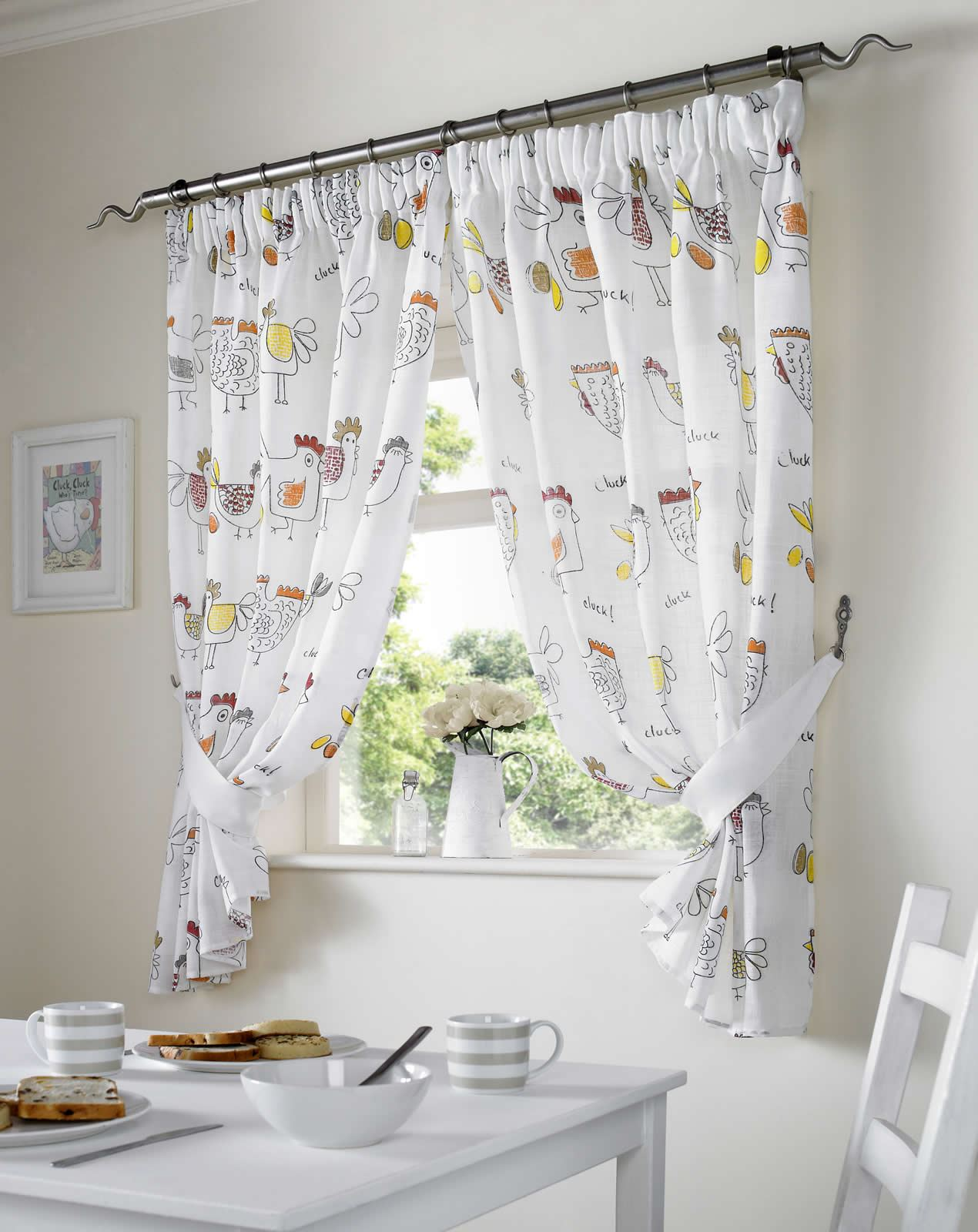 Chickens Rooster Country Style Kitchen Curtain Set Window