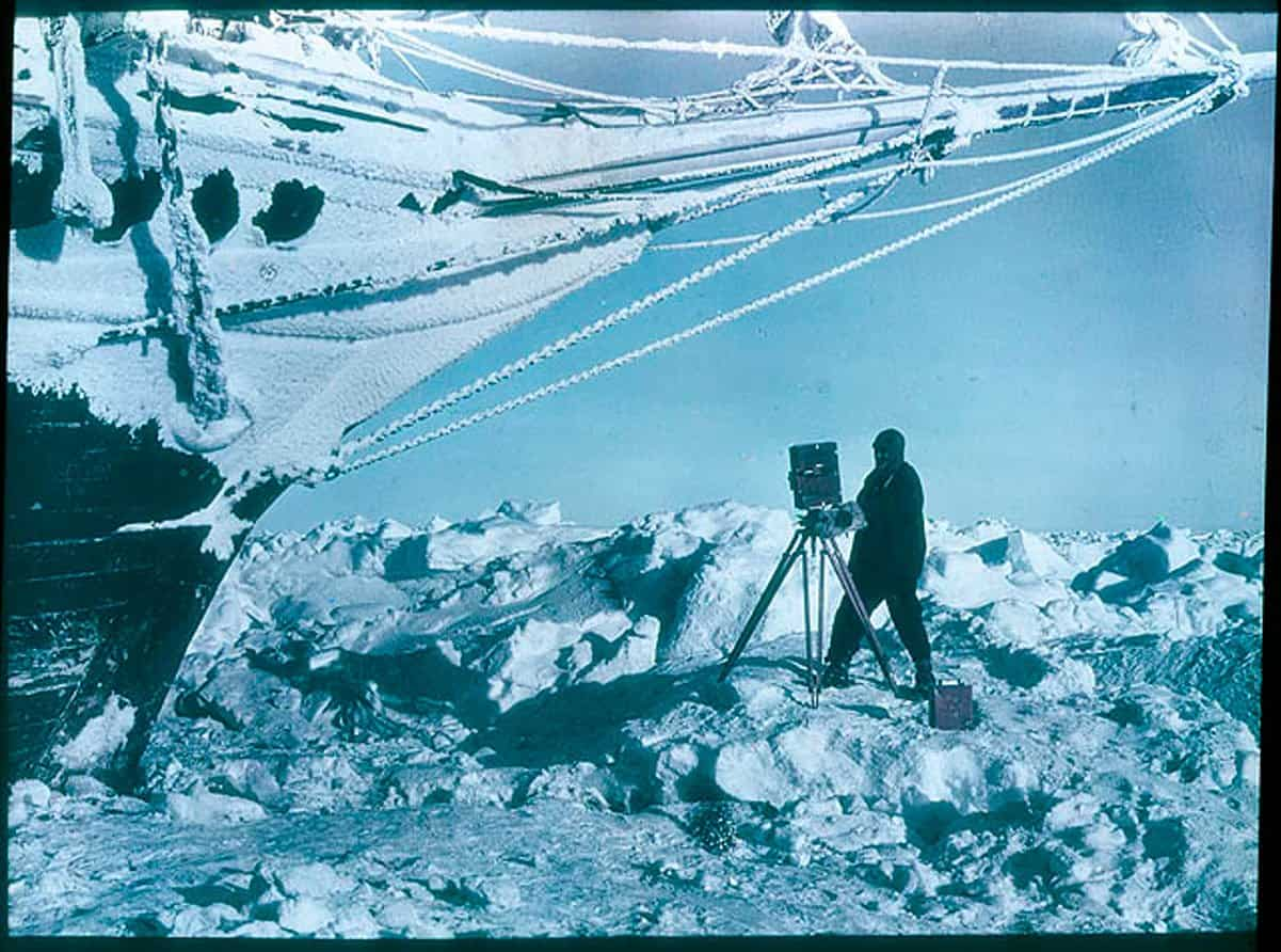 Endurance being photographed in 1915 whilst trapped in ice.