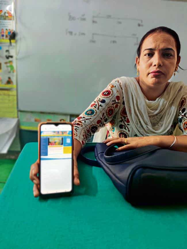Jaswinder Kaur is an Anganwadi workers in Punjab, where some of the childcare workers have refused to install the Poshan Tracker app.