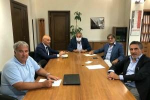 Giuseppe Di Miceli, Pierangelo Grimaudo presidente Ersu Messina), l'assessore regionale Roberto Lagalla, Livio Cardaci (presidente Salvatore Cannizzaro