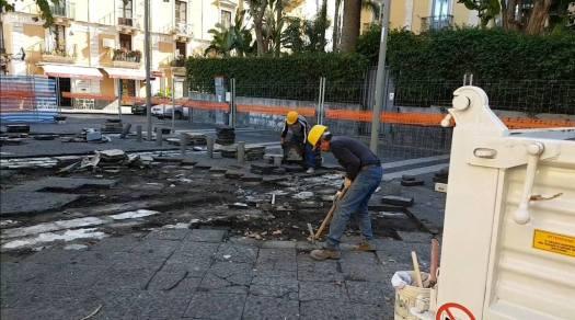 Lavori in piazza Falcone