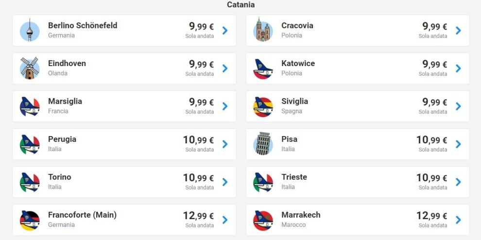 Ryanair Voli A 9 99 Euro Dalla Sicilia Offerte Anche Da