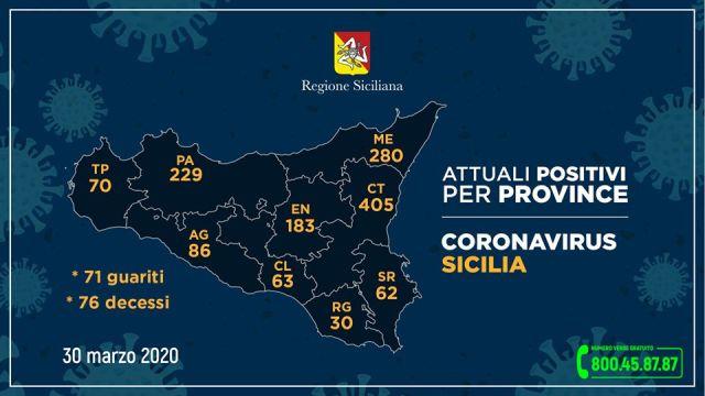 covid sicilia 30 marzo province