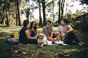 Un gruppo di amici durante un picnic