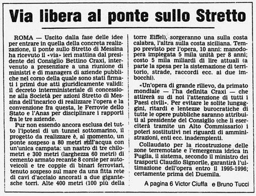 Articolo sul Ponte sullo Stretto del 1985