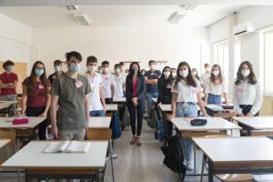 Lucia Azzolina a scuola