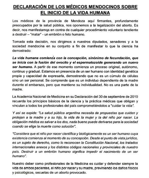 Un fragmento de la carta contra el aborto que firmaron más de 1.000 médicos de Mendoza.