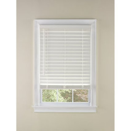 Custom Size Now by Levolor White Faux Wood 2-in Slat Room Darkening Cordless Window Plantation Blinds (Common Blind Width: 35-in; Actual Blind Size: 34.5-in x 72-in)