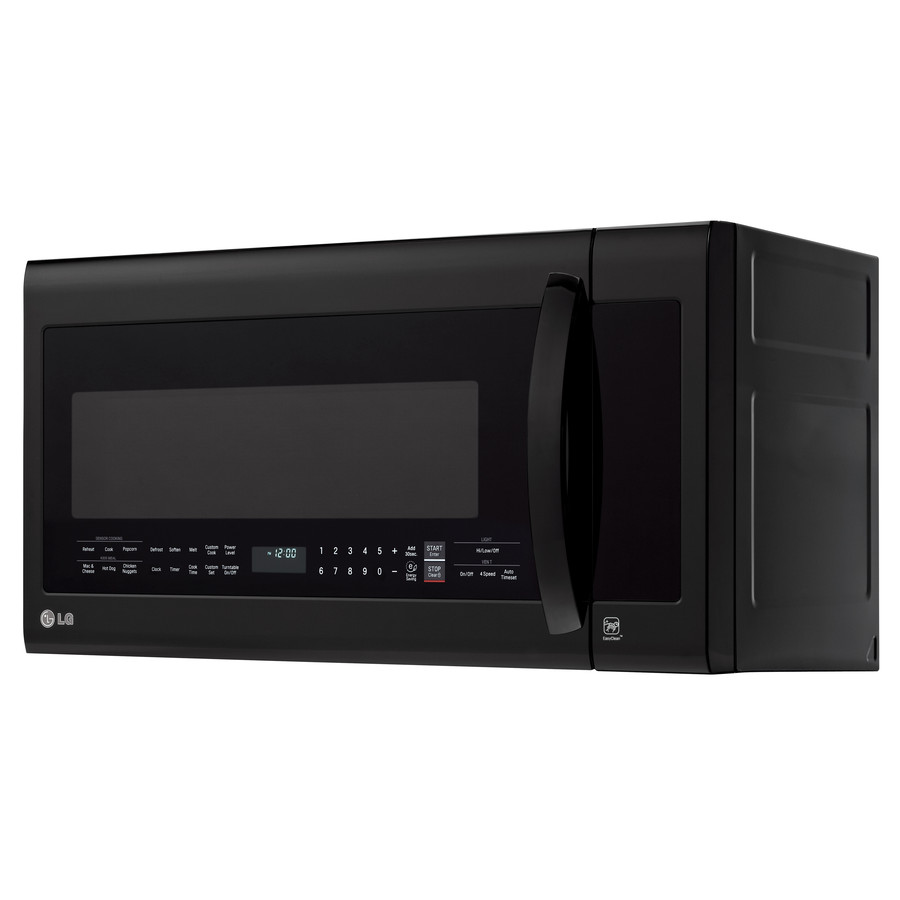 lg 2 cu ft over the range microwave with sensor cooking controls and speed cook smooth black common 30 in actual 29 875 in in the over the range microwaves department at lowes com