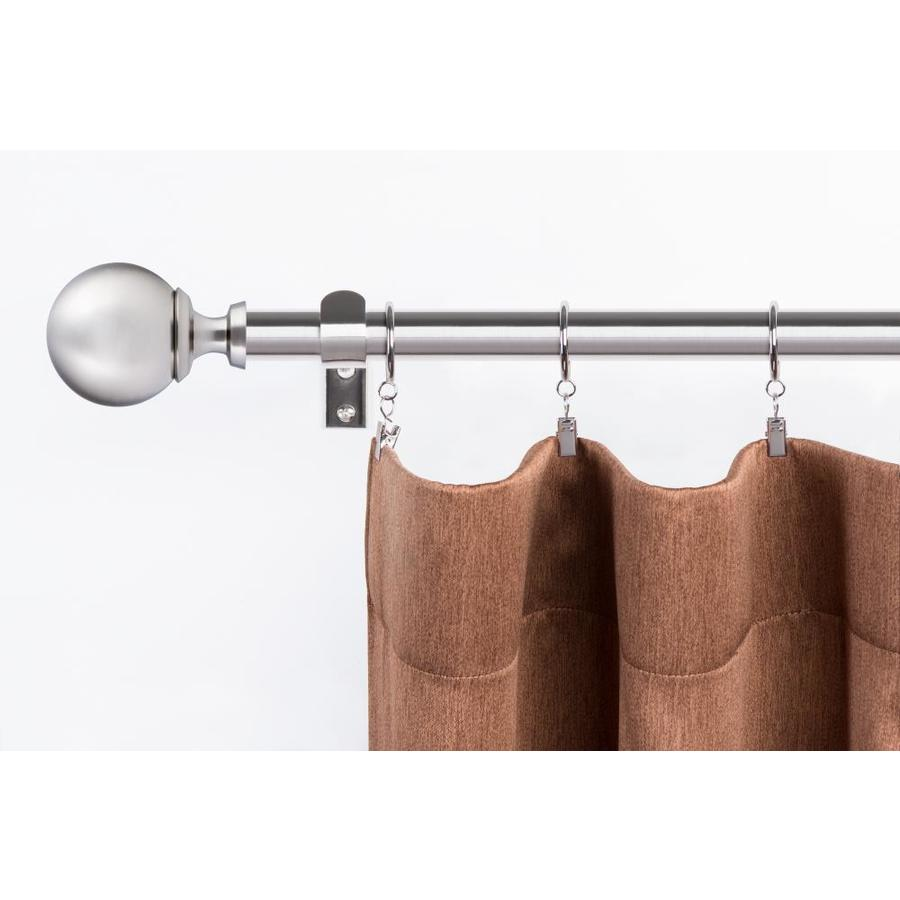 the haven collection 72 in to 144 in brushed nickel steel single curtain rod in the curtain rods department at lowes com