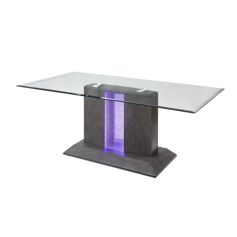 Acme Furniture Belay Bernice Glass Top Glass Top Dining Table With Wood Base In The Dining Tables Department At Lowes Com