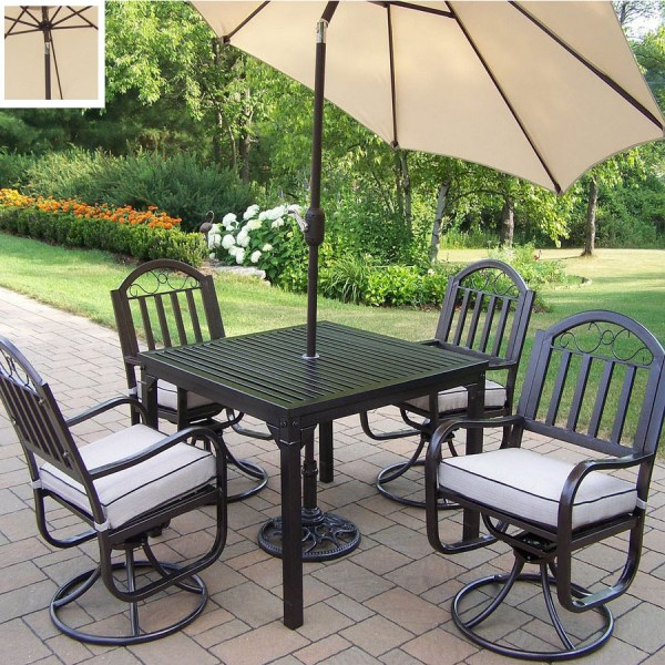 wrought iron patio dining sets Shop Oakland Living 5-Piece Cushioned Wrought Iron Patio