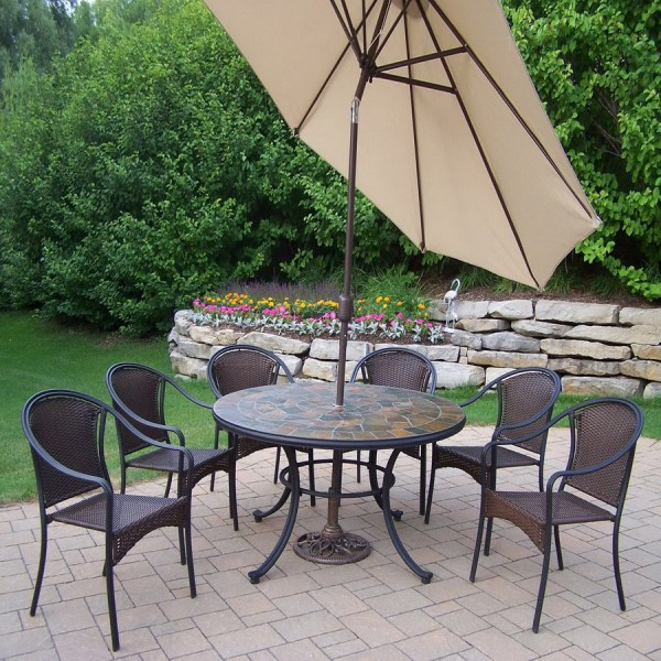 wrought iron patio dining sets Shop Oakland Living 7-Piece Woven Wrought Iron Patio