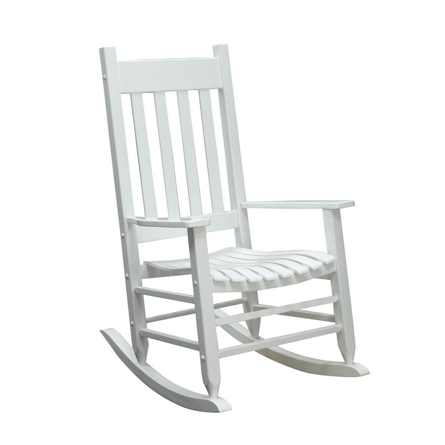 Shop Garden Treasures White Wood Slat Seat Outdoor Rocking - Lowe's Rocking Chairs