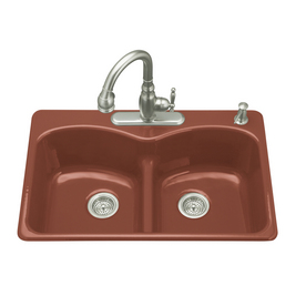 Red Hole Double Basin Cast Iron Topmount Kitchen Sink