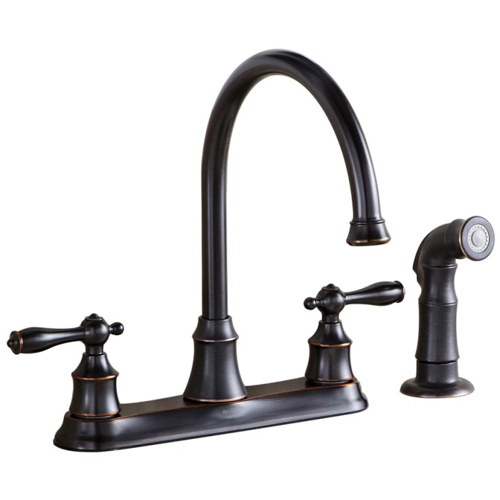 Bronze Handle High Arc Kitchen Faucet Side Spray