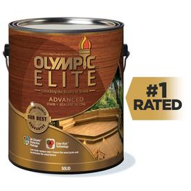 Olympic Elite Gallon Can Size Tintable Base 1 Solid Exterior Stain (Actual Net Contents: 120-fl oz)
