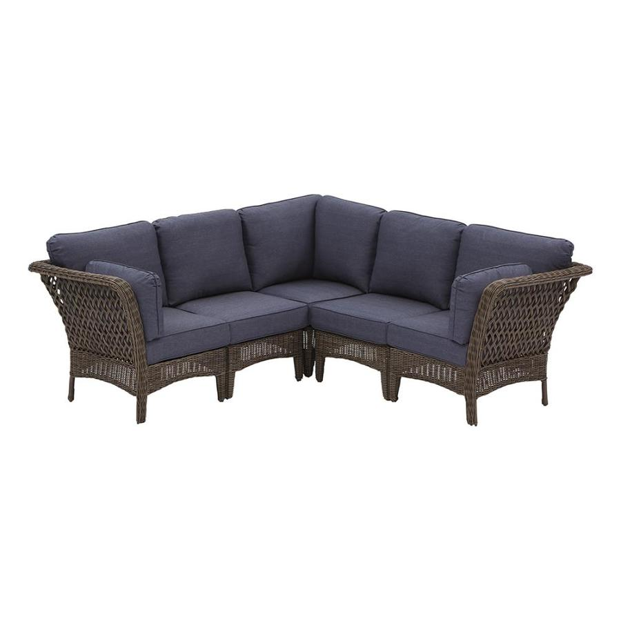 lowe s lowe s bellmare 5 piece metal frame patio conversation set with cushions bm5sctbrn from lowe s accuweather