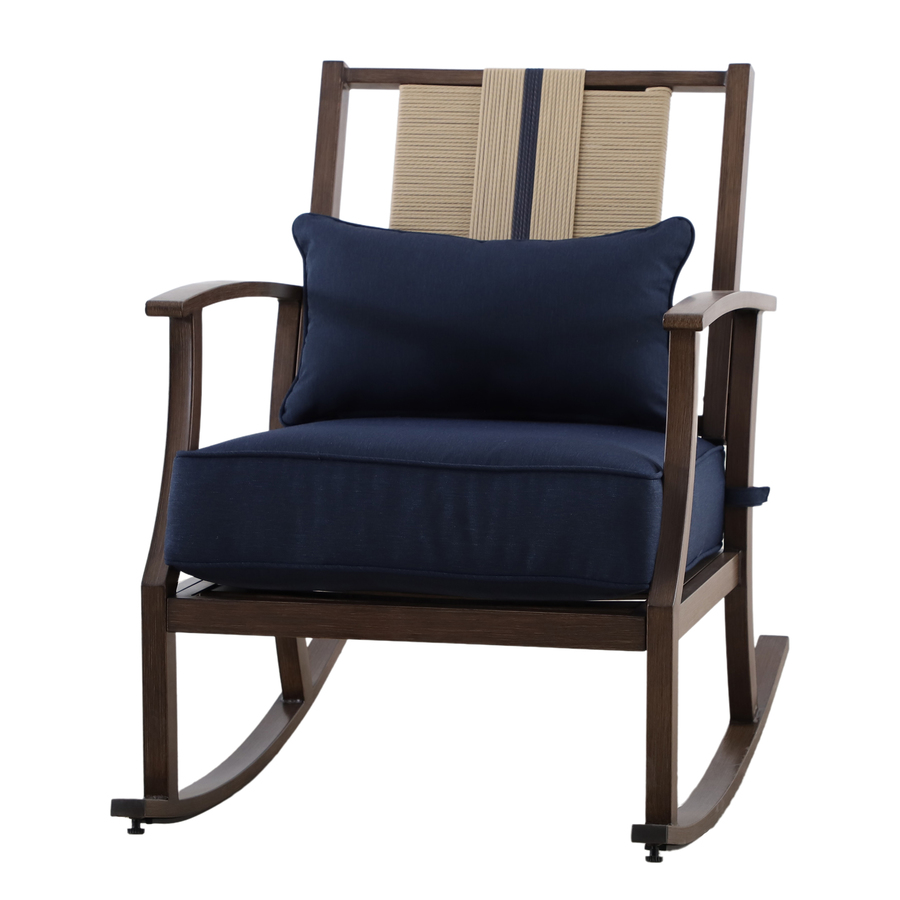allen roth allen roth piper glen set of 2 wicker brown metal frame stationary dining chair s with blue cushioned seat frs60764r from lowe s