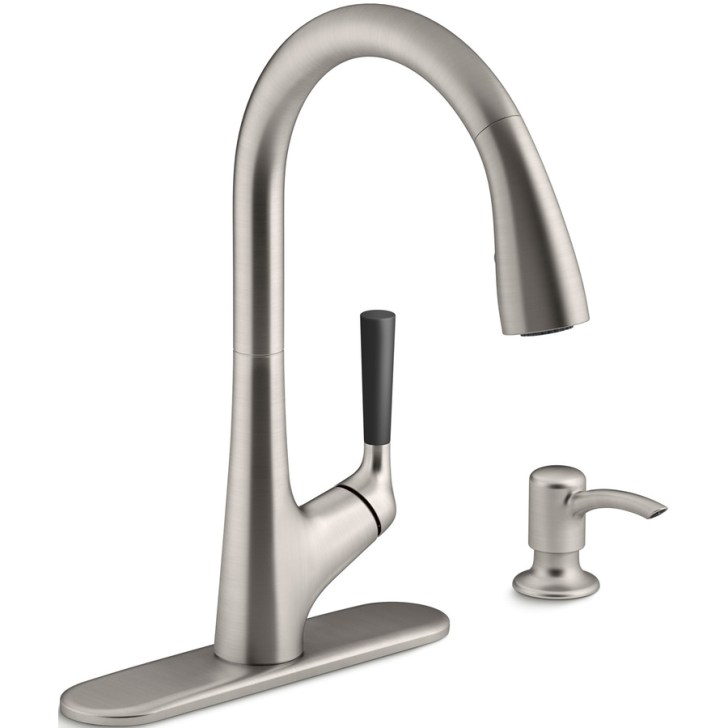 Kohler Malleco Vibrant Stainless Handle Pull Down Kitchen Faucet