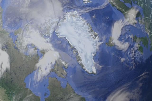 Le glacier Zachariae Isstrom est situé au nord-est... (Capture d'écran sur Google Earth)