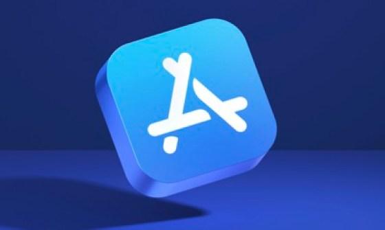 App Store blue inscription