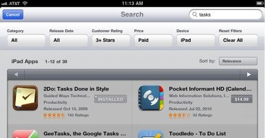 iPad App Store gets search filter improves reinstalling