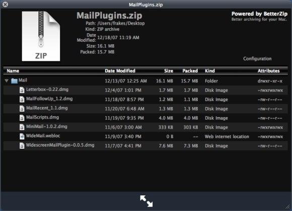 BetterZip plugin QuickLook