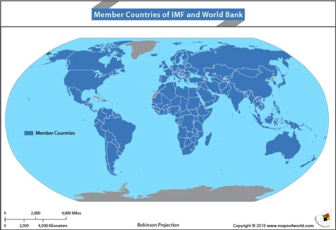 World Map highlighting countries that are members of IMF and World Bank