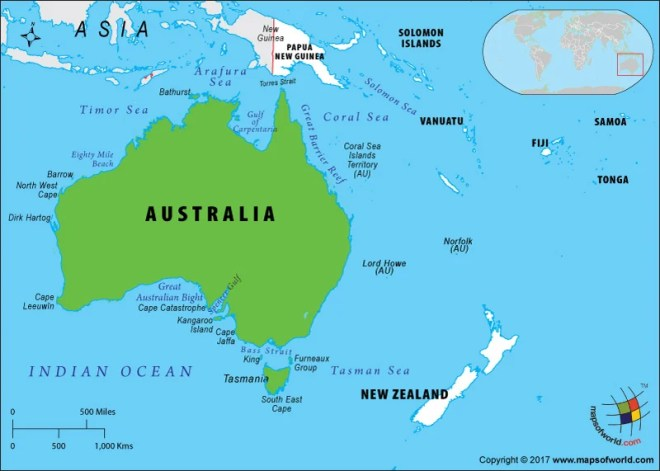 Australia On Map Of World.Is Australia An Island Answers
