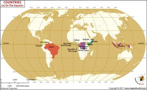 World Map showing the Countries that lie on the Equator
