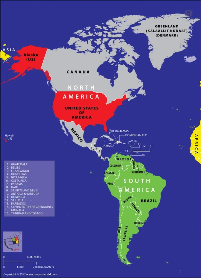 Map of Americas highlighting continents and countries