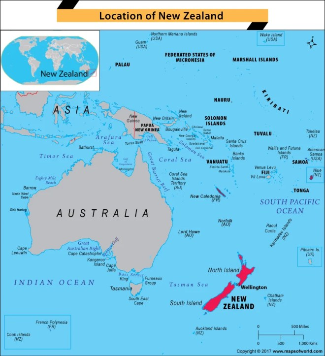 Map of Oceania highlighting New Zealand