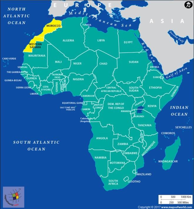 Map of Western Sahara and Morocco