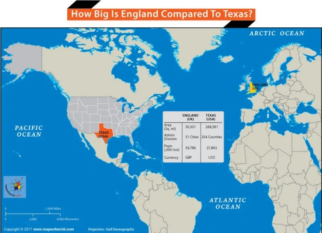 How Big is England Compared to Texas