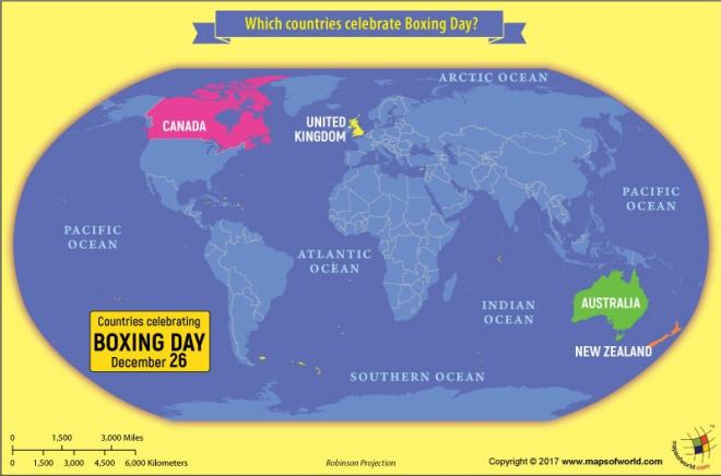 World map showing countries that celebrate Boxing day