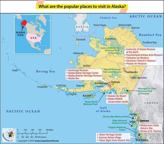 Alaska Map showing the most popular places to visit