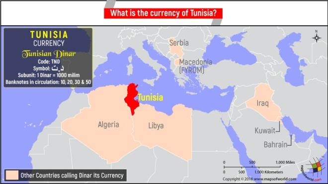 Map highlighting Tunisia providing information about its currency