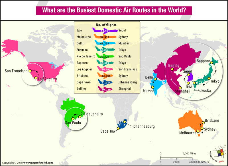 World Map highlighting the top 10 busiest domestic air routes in the World