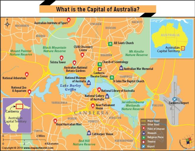 Map of Canberra city, the capital of Australia